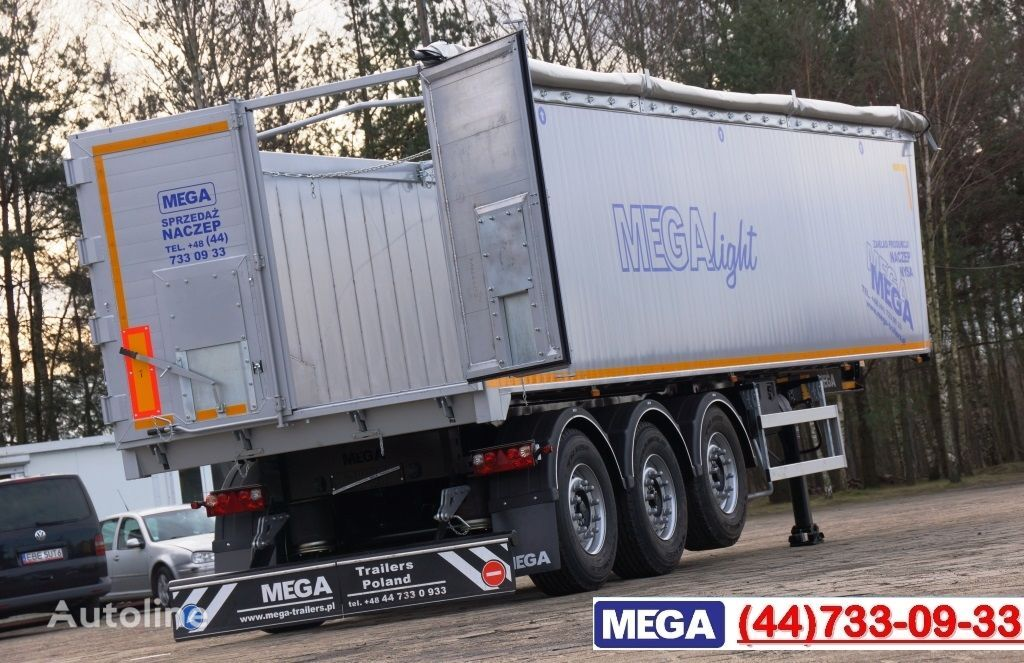 new MEGA 45 m³ - alum. tipper SUPER-LIGHT - 5,300 KG & hatch door - READY tipper semi-trailer