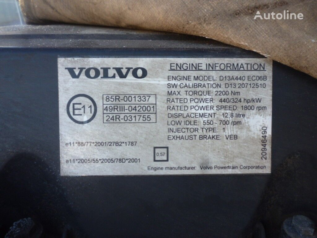 Volvo D13A440 ECO6B engine for VOLVO truck