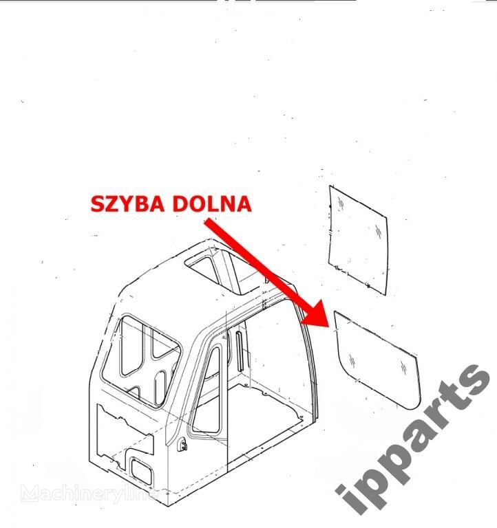windowpane for DAEWOO 225 Solar dolna 903-00049 koparka 140 excavator
