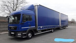 MAN TGL 12.250 TANDEM 38 PALET + curtain side trailer