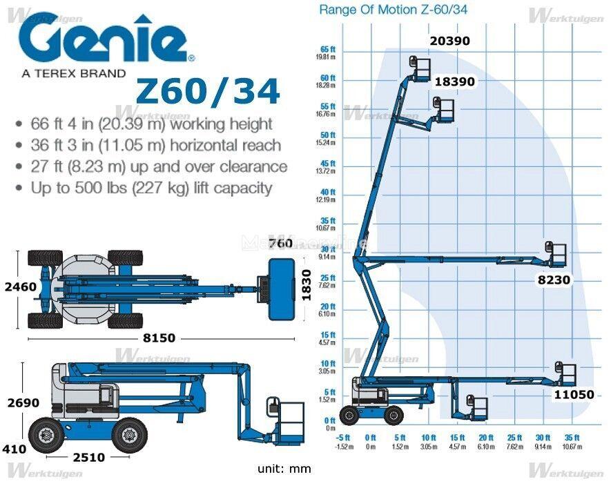 GENIE hoogwerker boom lift Genie Z60/34 articulated boom lift