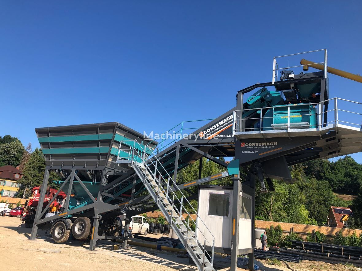 new CONSTMACH 60 m3/h MOBILE CONCRETE PLANT, WITH BUILT-IN TYPE CEMENT SILO concrete plant