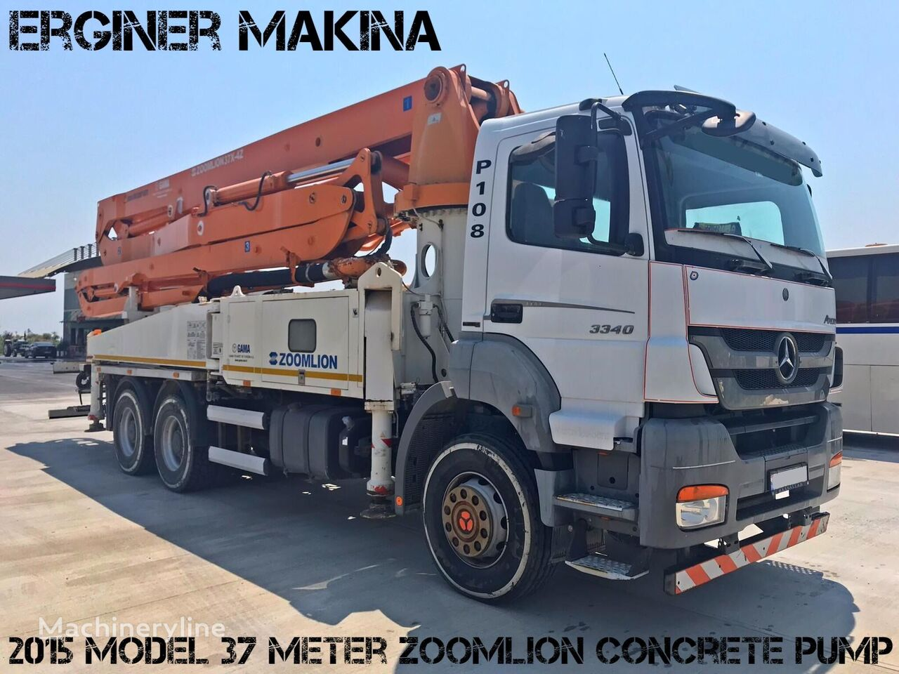Zoomlion  on chassis MERCEDES-BENZ 2015 MODEL 3340 MERCEDES 37 METRE ZOOMLİON PUMP concrete pump