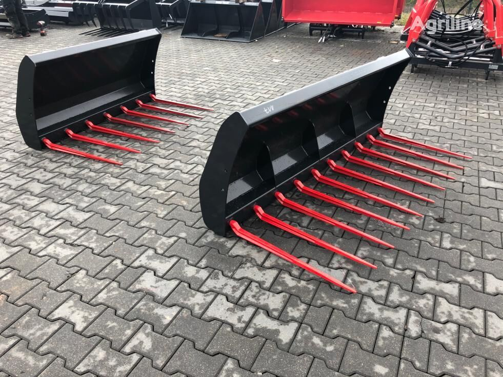 new InterTech Widły do obornika Mistgabel Dunggabel 1.2m round bale fork