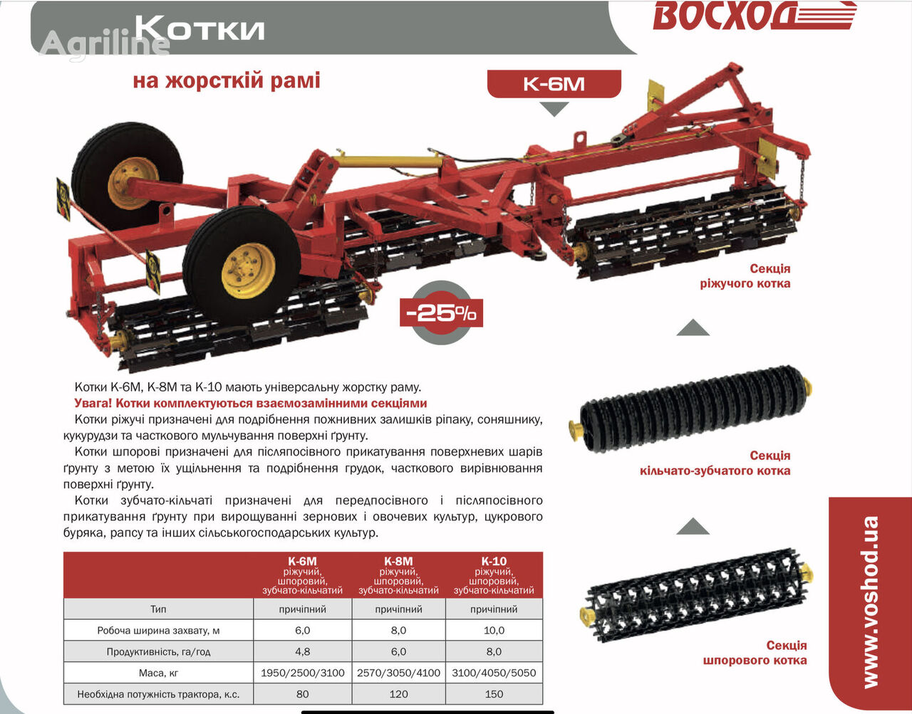 new Voshod K-6M K-8M K-10 field roller
