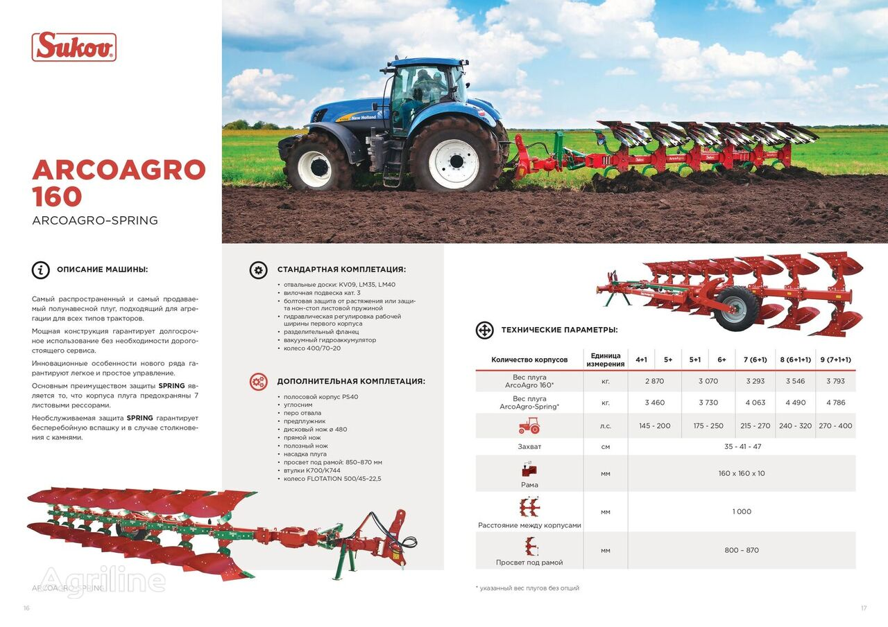new SUKOV ArcoAgro 160 reversible plough