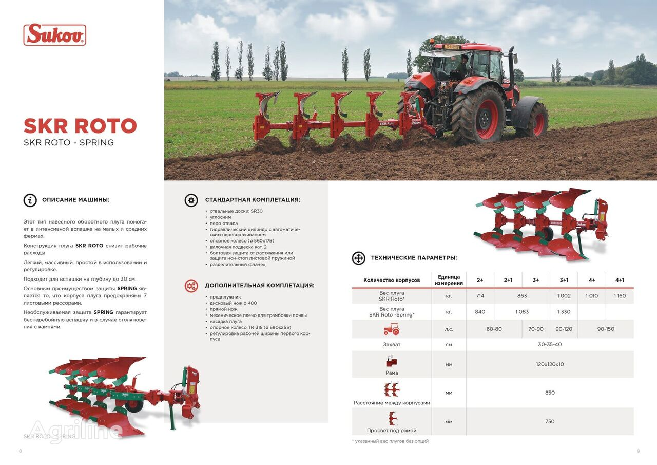 new SUKOV  SKR Roto reversible plough