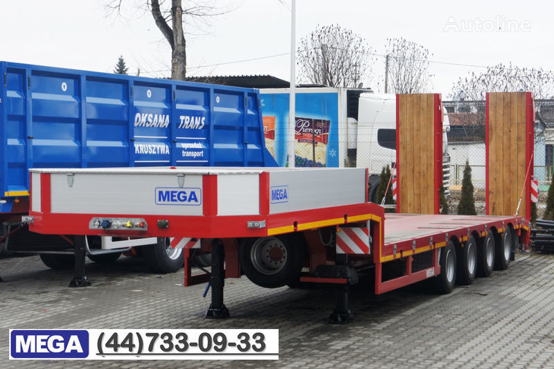 new MEGA 4 AXEL FLATBED / HYDRAULIC RAMPS / UP TO 45 T! low bed semi-trailer