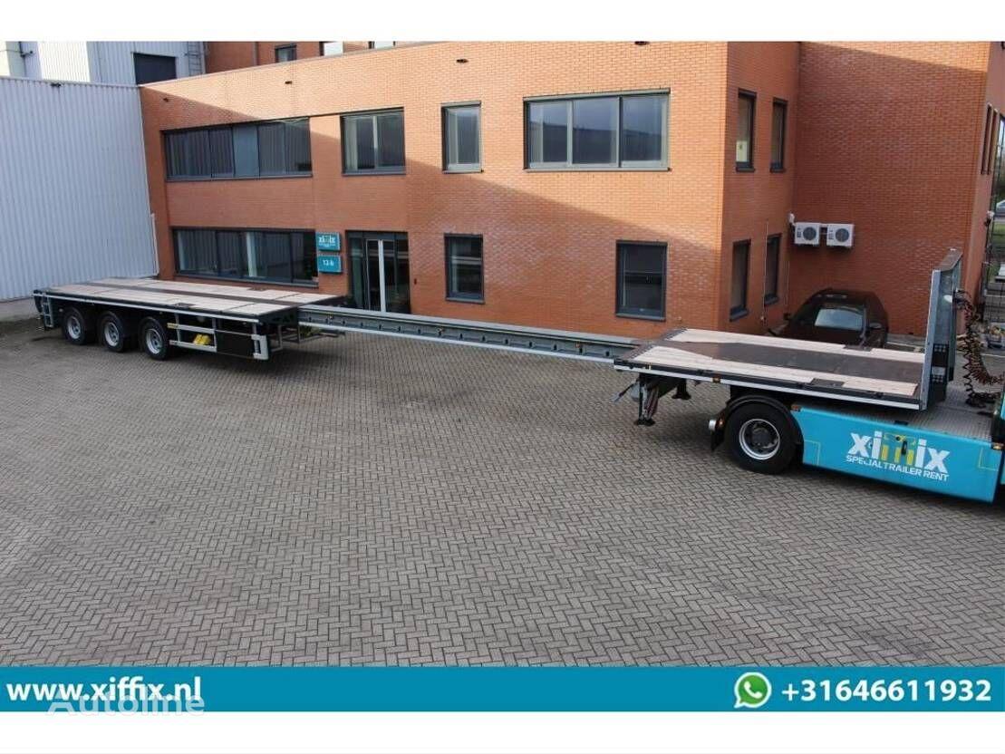 DIV. - TE HUUR: Vlakke uitschuifbare oplegger // 3x gestuurd platform semi-trailer