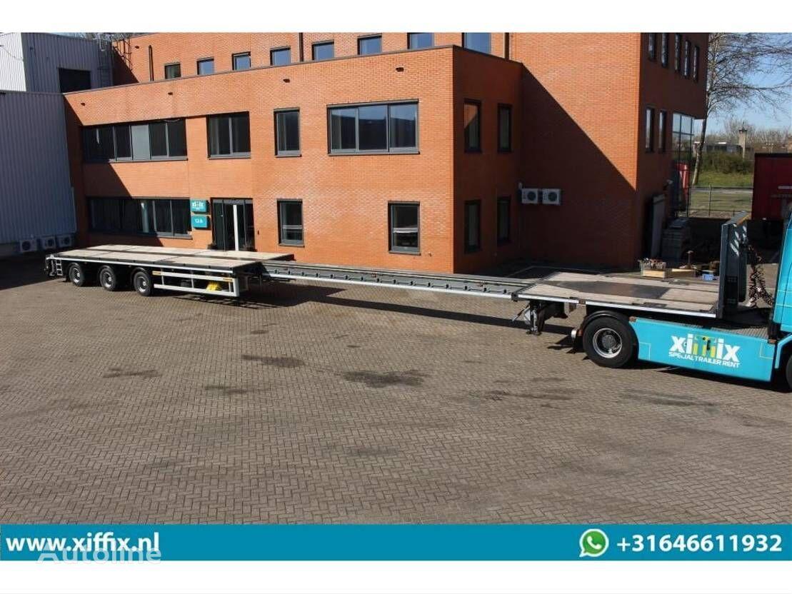 FAYMONVILLE TE HUUR: Vlakke MEGA uitschuifbare oplegger // 3x gestuurd platform semi-trailer
