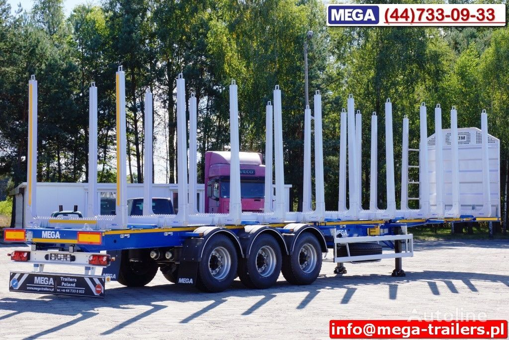 new MEGA 10 U STANCHION - TIMBER SEMI-TRAILER/HOLZAUFLIEGER- READY ! BERE timber semi-trailer