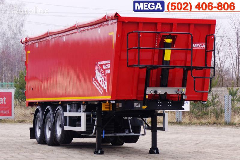 new MEGA 45 m³ - alum. tipper SUPER-LIGHT - 5,300 KG & hatch door - READY tipper semi-trailer