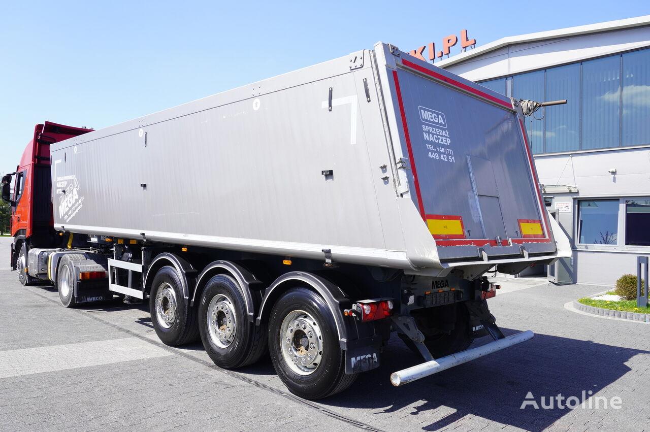 MEGA MNL 35.5t , 35m3 , alu , lift axle ,3x Mercedes axle  tipper semi-trailer