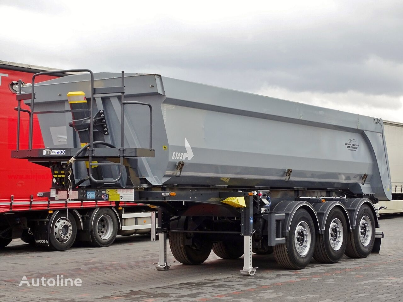 STAS TIPPER 25 M3 / WHOLE STEEL / PERFECT / 2019 YEAR / LIFTED AXLE / tipper semi-trailer