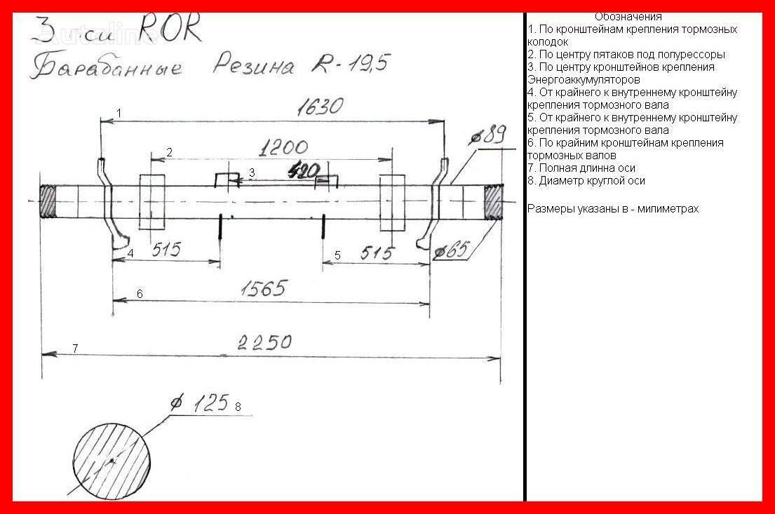 ROR TM/S20008 n603143d960026 r19 5 барабанные тормоза axle for semi-trailer