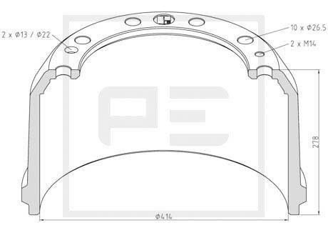 new RENAULT 414x229mmx278mm (10+2+2 25mm PETERS brake drum for RENAULT AE-MAGNUM/PREMIUM truck