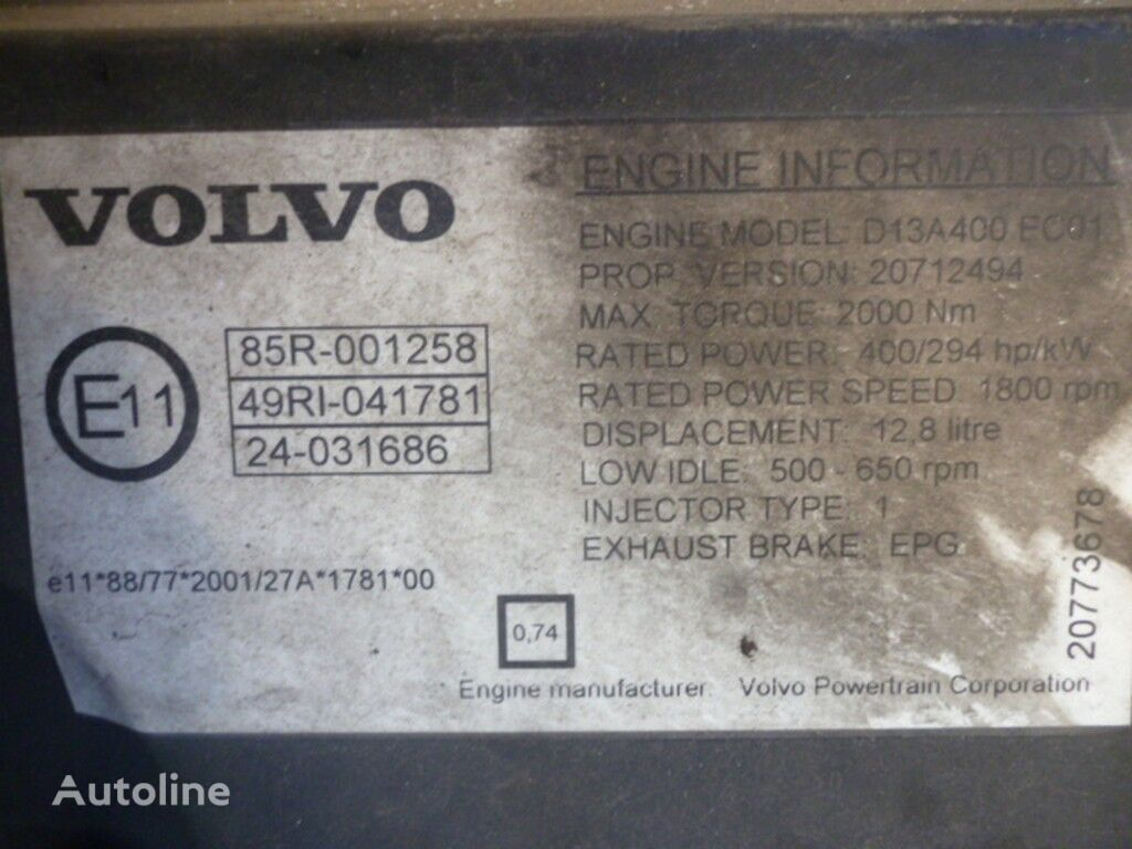 Volvo D13A400 EC01 engine for VOLVO truck