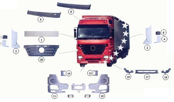 new MERCEDES-BENZ 9437500518 hood for MERCEDES-BENZ ACTROS MP2 truck