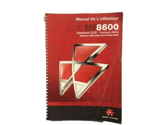 Livret d' utilisation et entretien instruction manual for MASSEY FERGUSON 7600 8600 tractor
