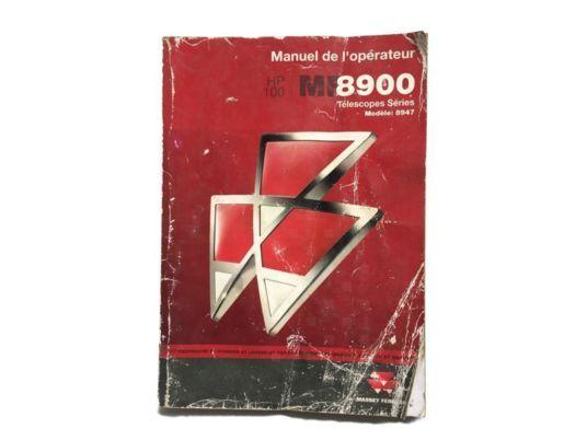 Livret d' utilisation et entretien Télescopique instruction manual for MASSEY FERGUSON 8900 tractor