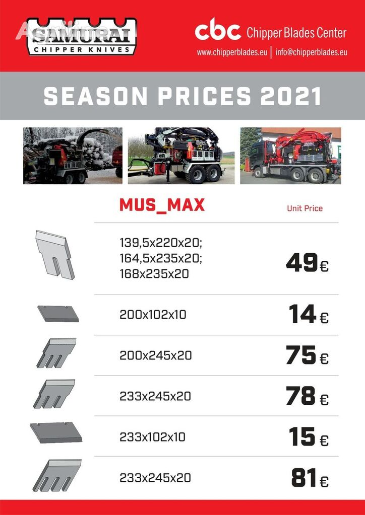 new Mus Max terminator 7; 8; 9 ; 10 ; 11; 12 knife for Mus Max MUS-MAX TERMINATOR  7; 8; 9; 10 ; 11; 12  wood chipper