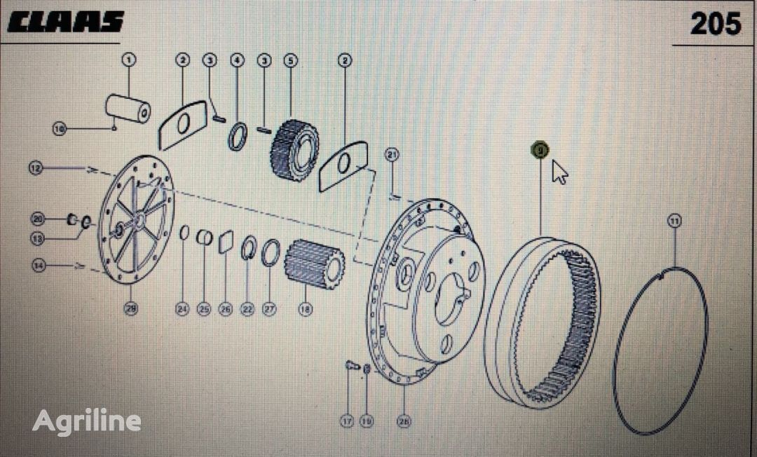 wieniec zębaty Claas (00 0598 935 0) other operating parts for CLAAS Xerion 3300 3800 tractor