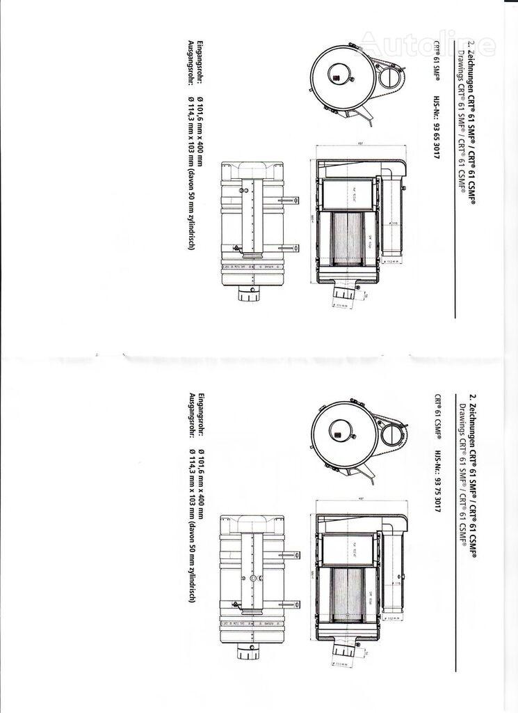 MAN HJS CRT 61 SMF particulate filter for MAN  Motor D 2866 263-363 PS bus