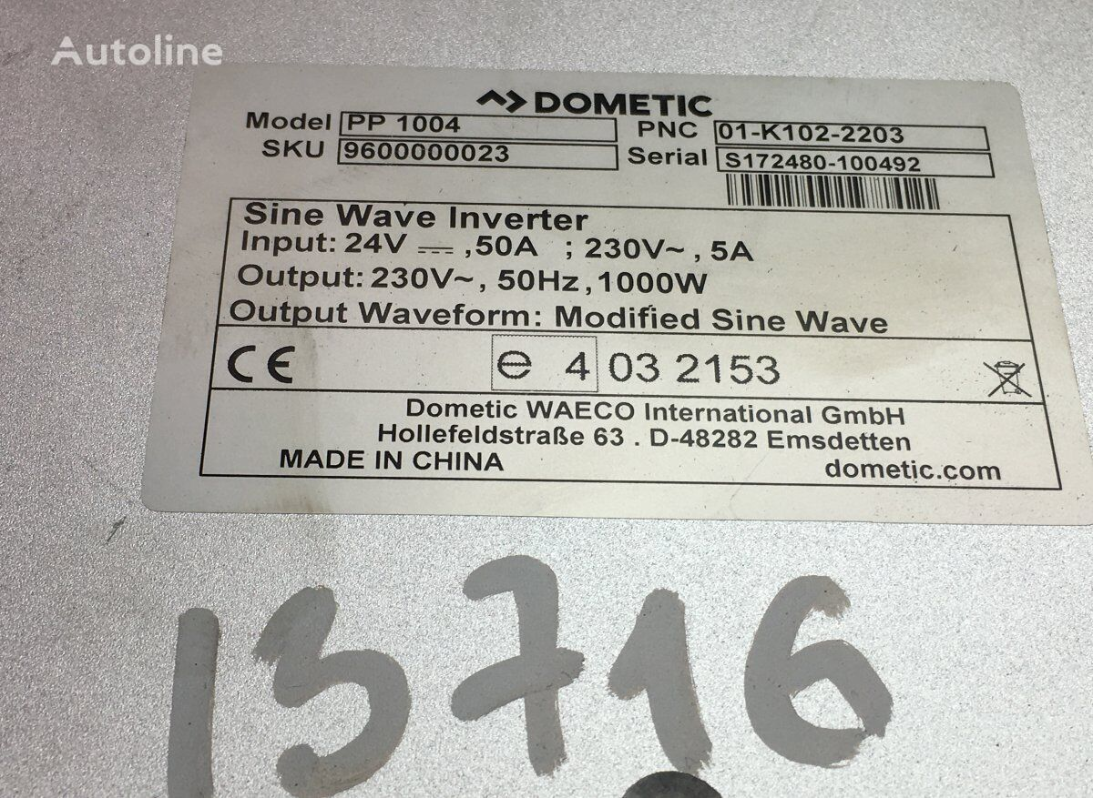 DOMETIC Actros MP4 2551 (01.13-) power inverter for MERCEDES-BENZ tractor unit