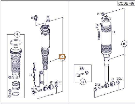 Amortiguador Delantero Completo Mercedes-Benz Clase S Berlina (B (A 220 320 50 13) shock absorber for MERCEDES-BENZ Clase S Berlina (BM 220)(1998->) 3.2 320 CDI (220.026) [3,2 Ltr. - 145 kW CDI CAT] automobile