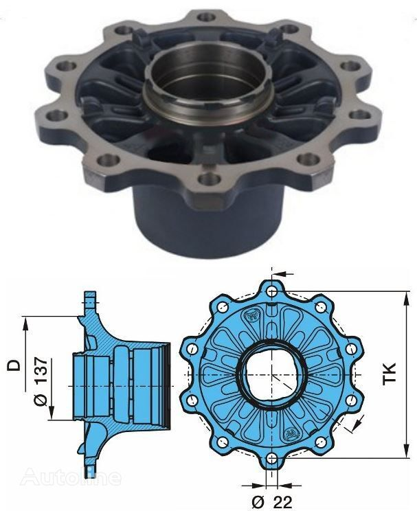 new BPW ECO Plus 2 03.272.43.28.0 (0980107320) wheel hub for semi-trailer