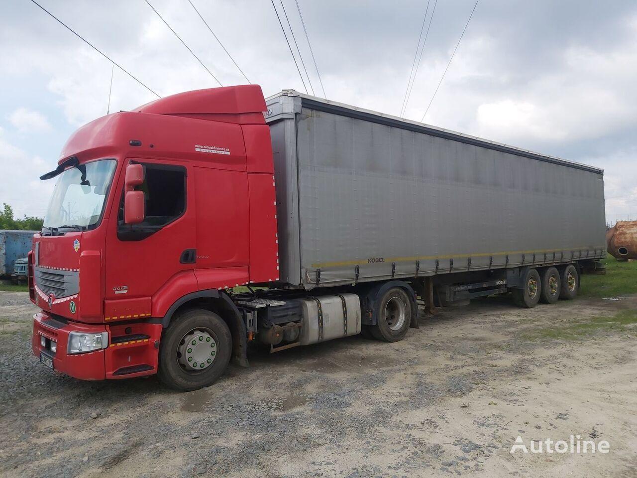 RENAULT Premium 450 tractor unit + curtain side semi-trailer