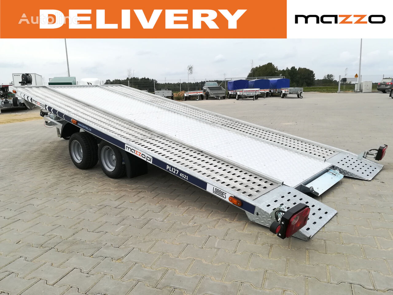 new PLI27-4521Tilted trailer 2700kg 450x210cm car transporter trailer