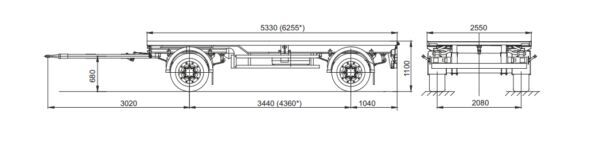new MAZ 837300-1012 chassis trailer