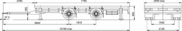new MAZ 837310-1010 flatbed trailer