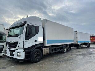 IVECO Stralis 460E6 6x2 Lenkachse Durchlader (43) box truck + closed box trailer
