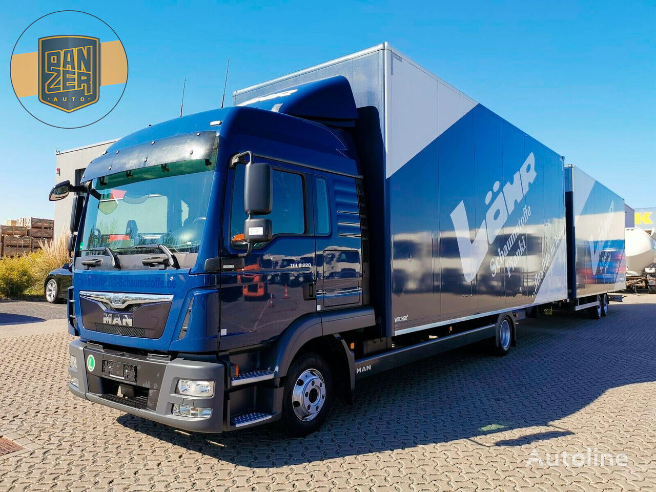 MAN TGL 8.220 BL box truck + trailer