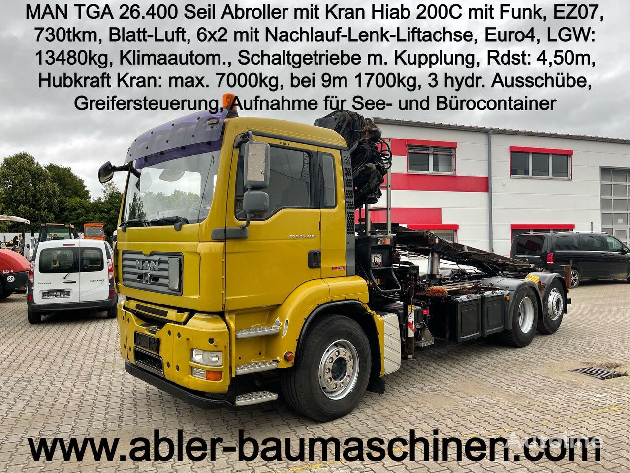MAN TGA 26.400 Seilabroller mit Kran Hiab cable system truck