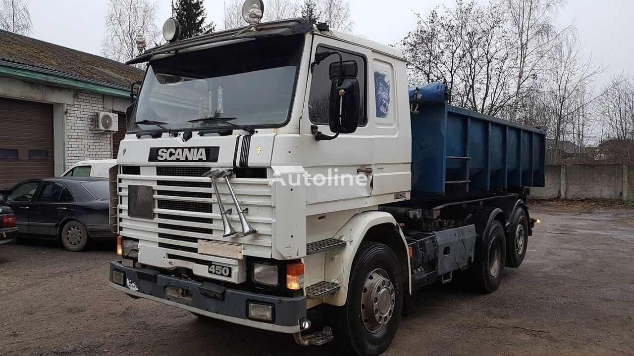 SCANIA 143 6x2 multilift-tipper, full steel cable system truck