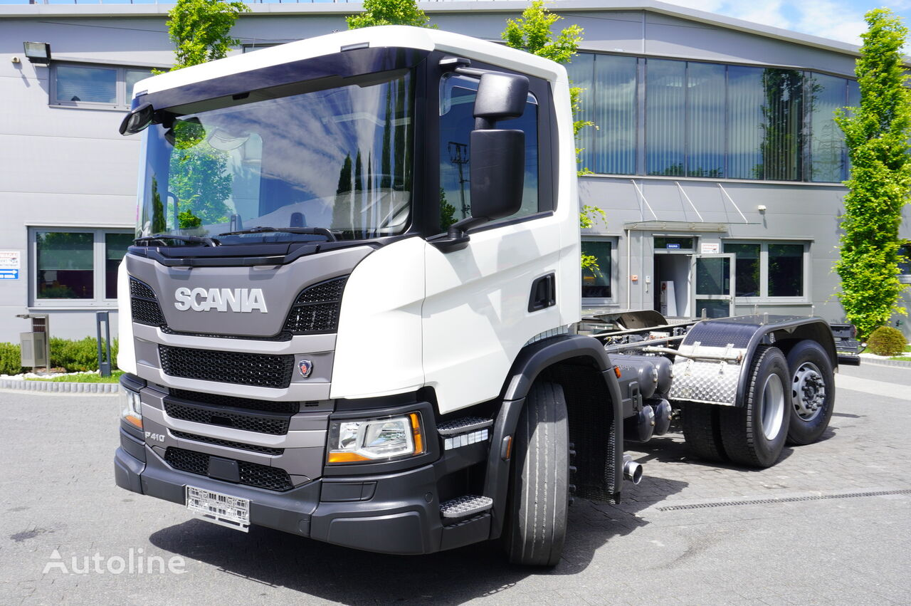SCANIA P410 , E6 , 6X2 , chassis 6m , PTO , LOW CAB , manual , retarder chassis truck