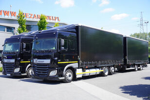 DAF XF 460 , SC , E6 , BDF , MEGA , JUMBO 120m3 , 38 EPAL  curtainsider truck + curtain side trailer