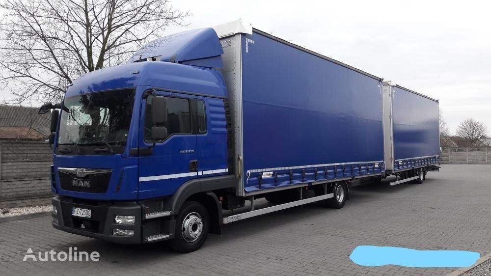 MAN TGL 12.250 TANDEM 38 PALET curtainsider truck + curtain side trailer