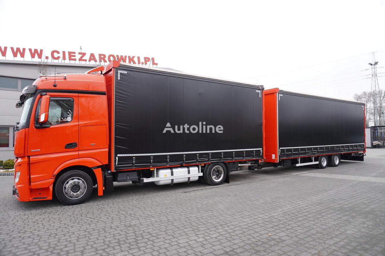 MERCEDES-BENZ Actros 1836 , E6 , 4x2 , MEGA , 120m3 JUMBO , 38 EPAL , retarder curtainsider truck + curtain side trailer