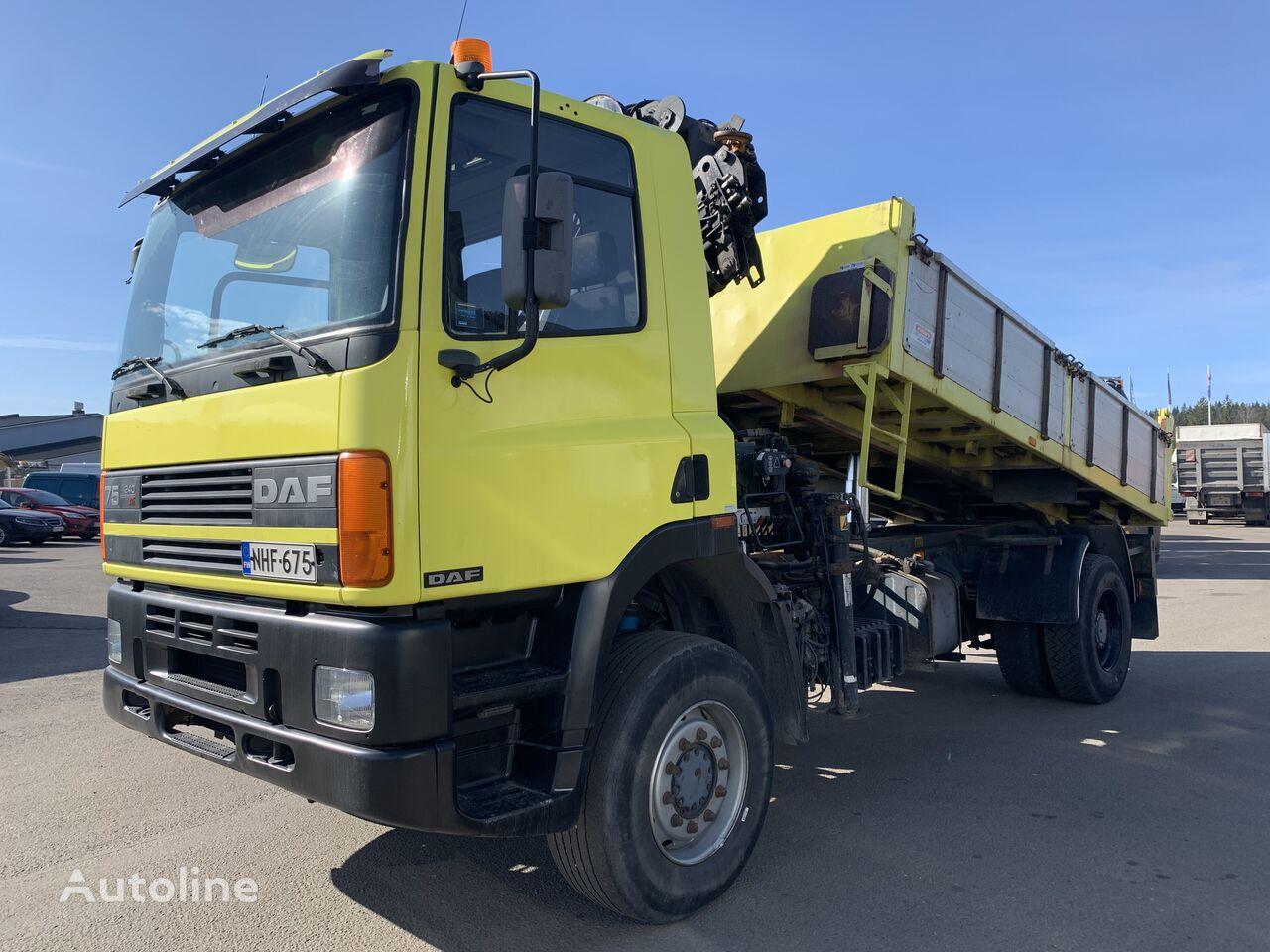 DAF CF75 4x4 tipper with hiab 160 radio like new original km dump truck