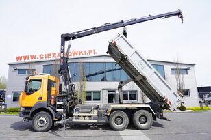 RENAULT Kerax 380 , E5 , 6x4 , 120k km , 2way tipper , Cran Hiab , REMOT dump truck