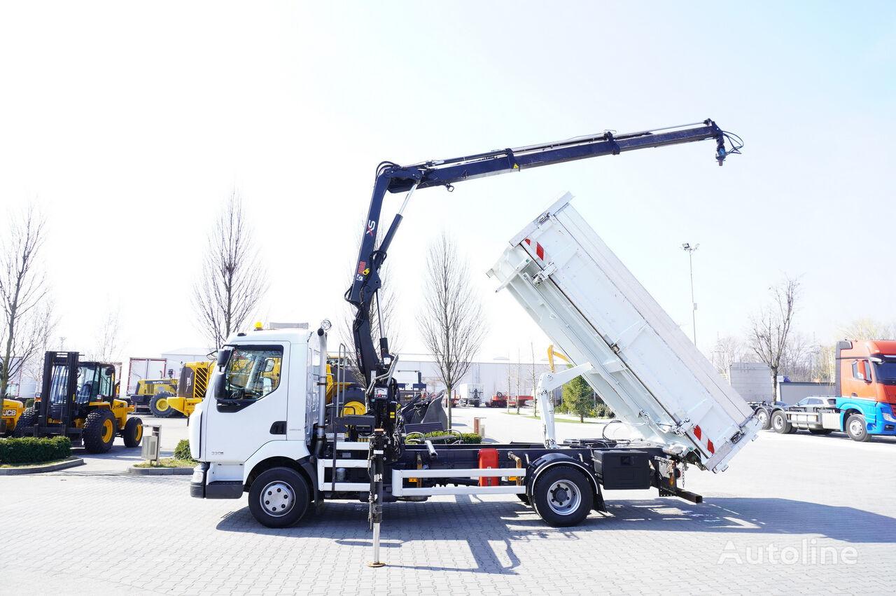 RENAULT Midlum 220 , E5 , 70.000km , 2-way tipper , Crane HIAB + REMOTE  dump truck