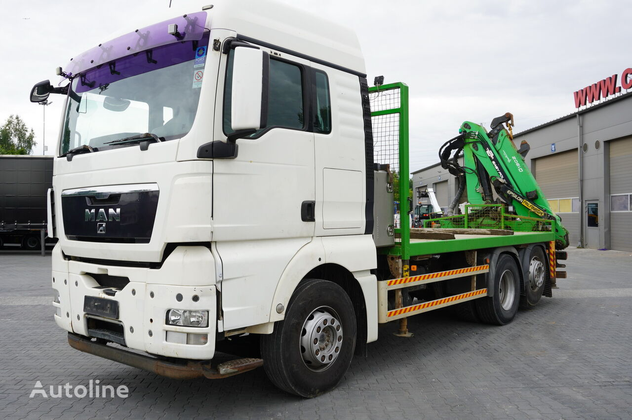 MAN TGX 26.440 XLX  ,E5 , steer axle , Crane Palfinger Epilson + rem flatbed truck