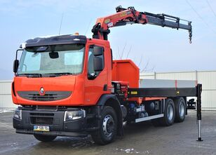 RENAULT Premium 370 DXI Pritsche 6,30m+Kran/Funk* flatbed truck