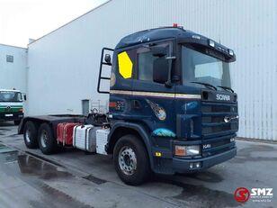 SCANIA 144 530 6x4 lames/meca flatbed truck