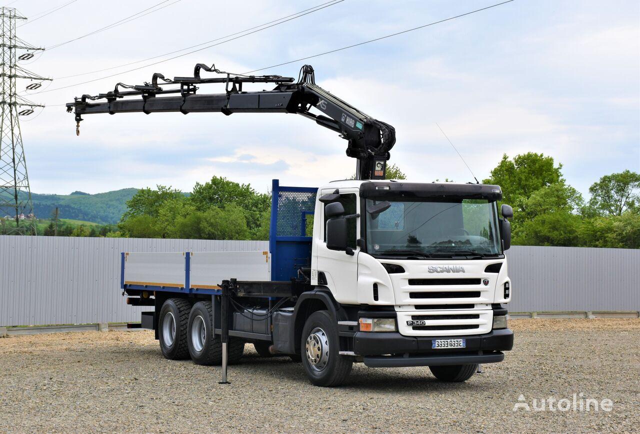 SCANIA P340 Pritsche 6,50m +HIAB 144E-4HIDUO + FUNK/6x4 flatbed truck