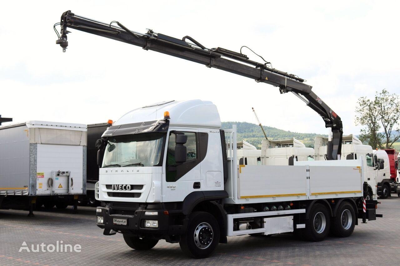 IVECO STRALIS 450 / 6X4 / PLATFORMA + MACARA HIAB 166 / RADIO COMMANDE flatbed truck